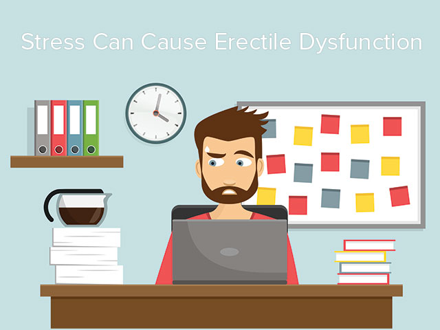 Illustration that depicts a man who suffers from erectile dysfunction due to stress
