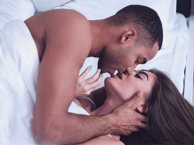 An image of a man focusing on his senses while having sex