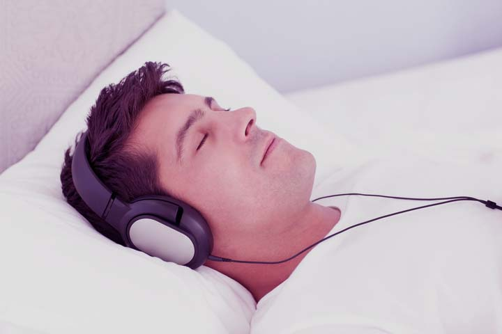 A man listening to a guided imagery recording for erectile dysfunction