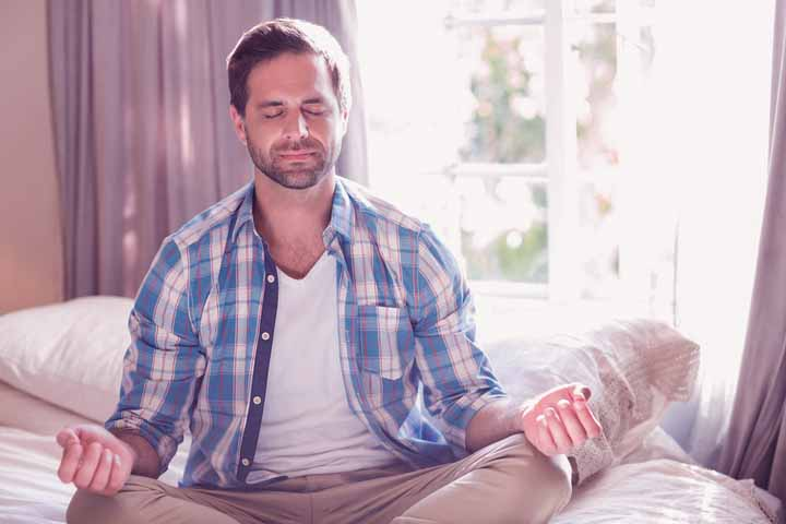 man practicing mindfulness meditation for erectile dysfunction